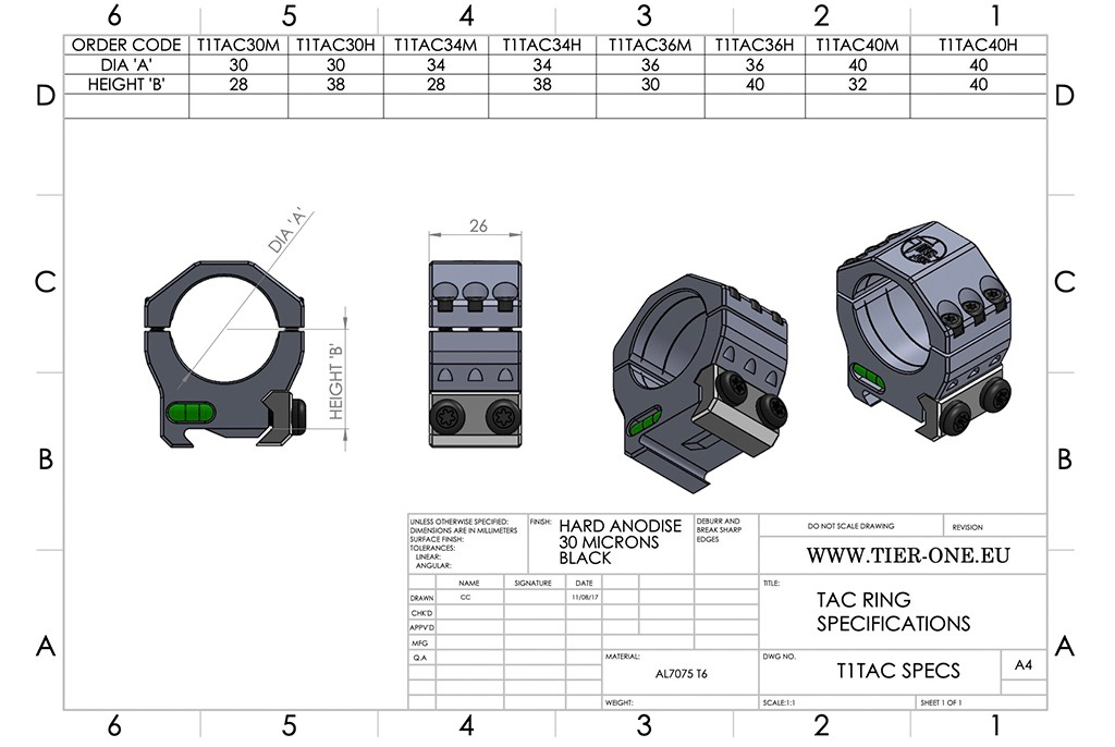 Image of Tier One Tac-Ring Sets (6 Screw) Picatinny Mounts