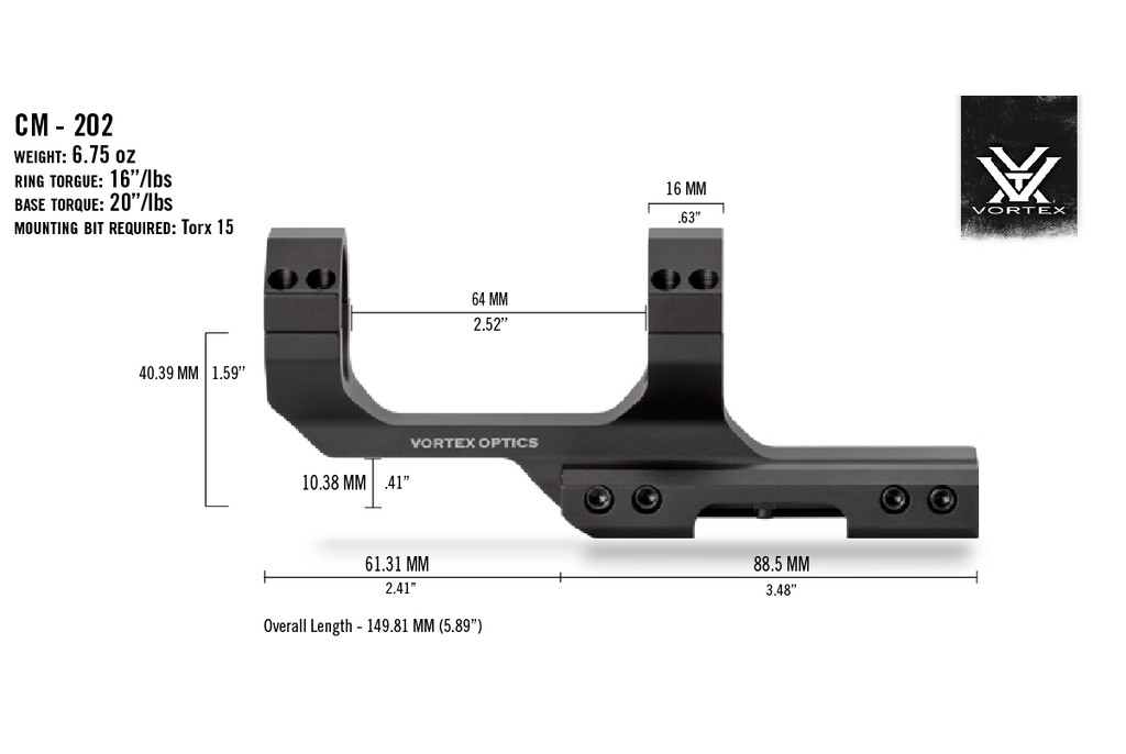 Image of Vortex Cantilever Ring Mount for 30mm Tube with 2 inch Offset