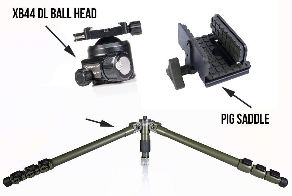 Image of ShadowTech PIGLite-CF4 Carbon Fiber Rifle Tripod System with Ball Mount and Pig Saddle