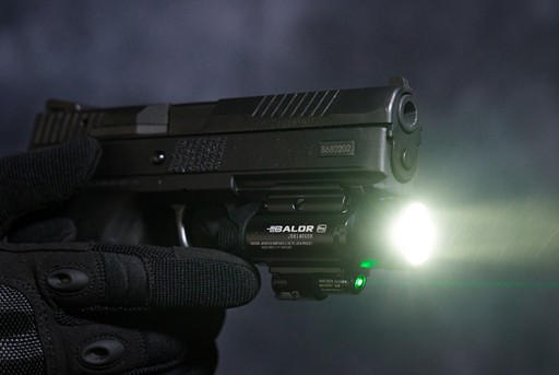 OLight Baldr Pro Gun Mounted Tactical Light with Green Laser
