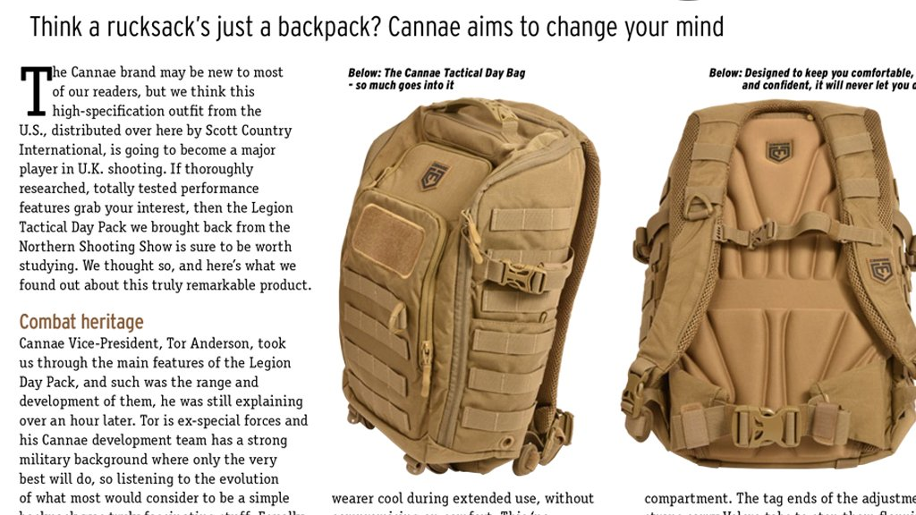 Terry Doe from Airgunner checks out the latest Cannae Legion Tactical BackPack