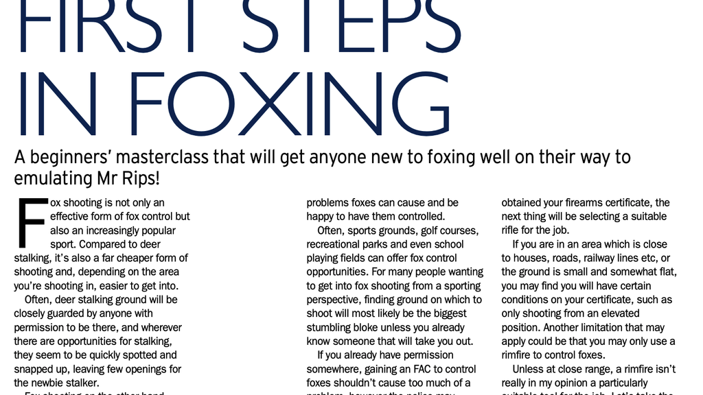 First Steps In Foxing - Mark Ripley's beginner masterclass in fox and vermin control