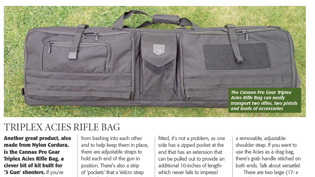 Gunmart's Graham Allen puts the Cannae Triplex Acies and Range Bag through its paces in this months issue.